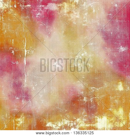 Creative grunge background in vintage style. Faded shabby texture with different color patterns: yellow (beige); brown; red (orange); purple (violet); white; pink