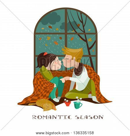 Young couple kissing under the plaid. Vector illustration