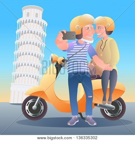 Old people travel ti Italy. Group of old people making selfie with Pisa tower smiling and happy