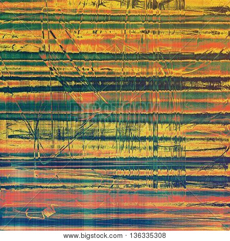 Retro style background with grungy vintage texture and different color patterns: yellow (beige); green; blue; red (orange); cyan