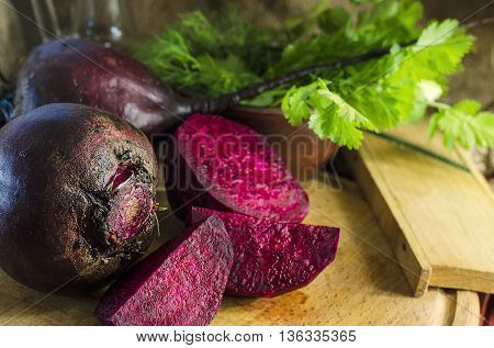 Young raw beetroot close up on a background of burlap