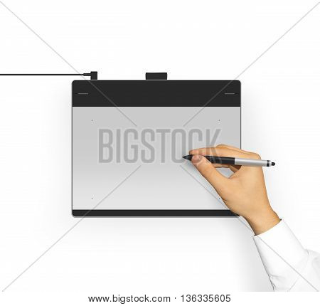 Hand in sleeve shirt holding graphic tablet stylus. Creative equipment isolated. Designer drawing, painting, sketching.
