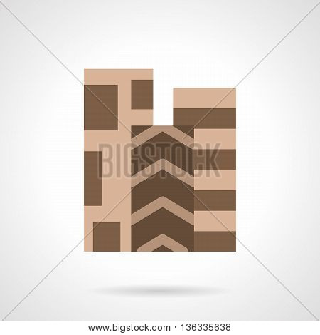 Three rolls of linoleum with brown geometrical pattern. Floor covering for home, office and other spaces. Flat color style vector icon.