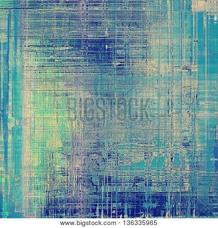 Abstract vintage background with grunge effects, ragged elements, and different color patterns: yellow (beige); gray; green; blue; cyan