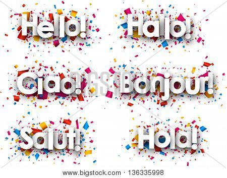 Hello paper background, Italian, Spanish, French, German, Catalan. Vector illustration.