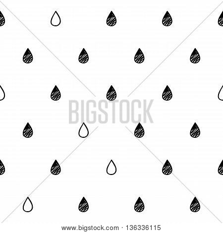 Water drops rain scribble sketch seamless pattern background. Hand drawn vector illustration.