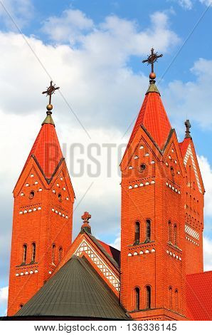 Catholic Church of the early twentieth century with towers and belfry