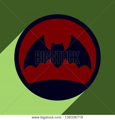 Flat with shadow icon and mobile application bat moon