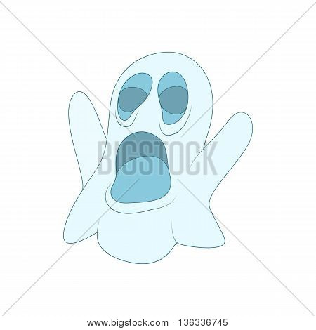 Halloween ghost icon in cartoon style on a white background