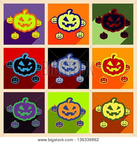 Flat with shadow concept and mobile application pumpkins Halloween