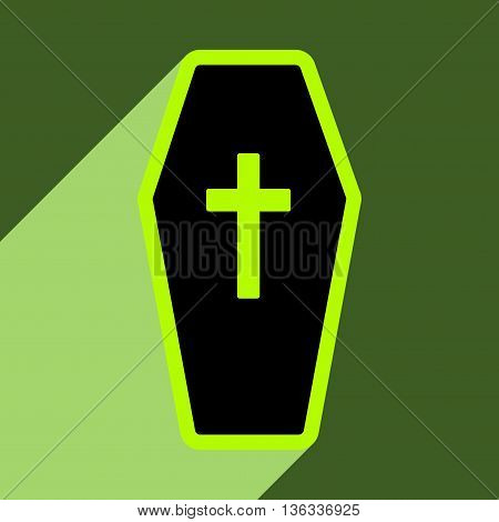 Flat with shadow icon and mobile application coffin