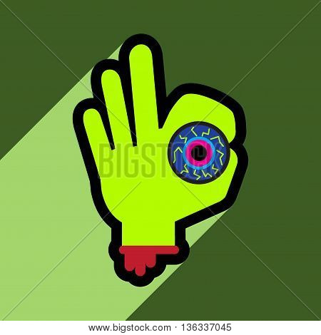 Flat with shadow icon and mobile application hand Halloween