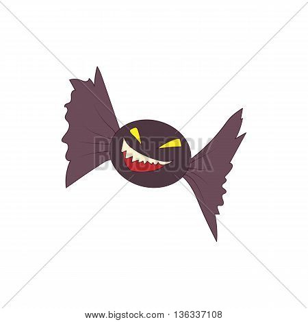 Halloween bat icon in cartoon style on a white background