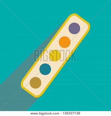 Flat with shadow icon and mobile application palette