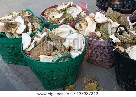 shell durian in trashcan. durian, fruit, fresh