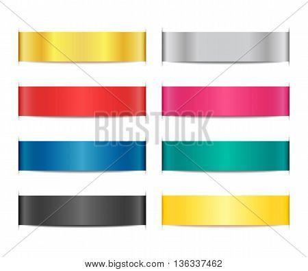 Collection of bright ribbon banners with paper cuts and shadows. Set of scroll elements. Template shapes for design of labels, price tags, emblems, website interface. Vector illustration.