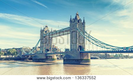 view of Tower Bridge over the River Thames London UK England selective focus vintage effect