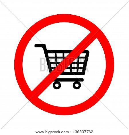 No shopping cart sign, vector illustration on white background
