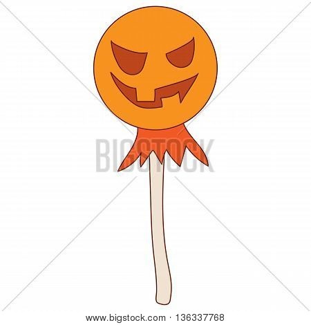 Halloween scarecrow icon in cartoon style on a white background