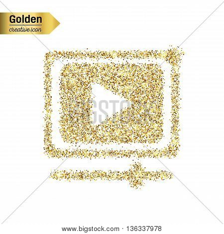 Gold glitter vector icon of video player isolated on background. Art creative concept illustration for web, glow light confetti, bright sequins, sparkle tinsel, bling logo, shimmer dust, foil.