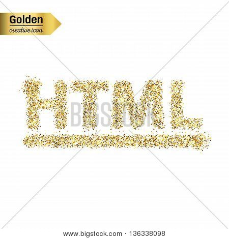 Gold glitter vector icon of html symbol isolated on background. Art creative concept illustration for web, glow light confetti, bright sequins, sparkle tinsel, bling logo, shimmer dust, foil.