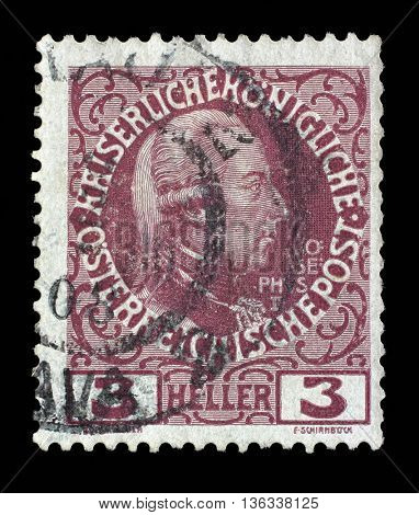 ZAGREB, CROATIA - SEPTEMBER 05: a stamp printed in the Austria shows Joseph II, Emperor of Austria, circa 1913, on September 05, 2014, Zagreb, Croatia