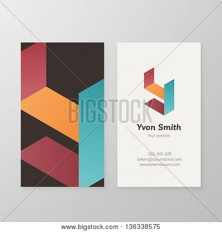Business card with isometric letter Y template. Vector business card editable design.