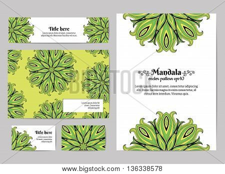 Corporate identity. Business set of design templates. Business card, invitation, envelope and banner. Oriental design layout in green tints. Floral mandala pattern. Vector illustration.