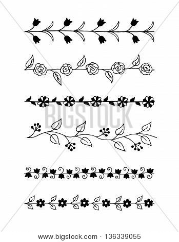 Collection of hand drawn floral brushes. Vector illustration.