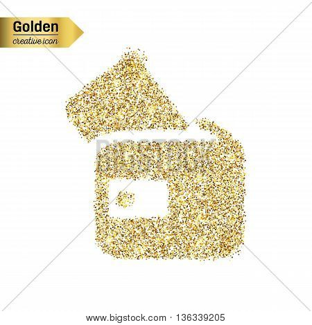 Gold glitter vector icon of wallet isolated on background. Art creative concept illustration for web, glow light confetti, bright sequins, sparkle tinsel, bling logo, shimmer dust, foil.