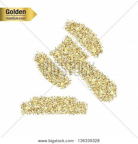 Gold glitter vector icon of gavel isolated on background. Art creative concept illustration for web, glow light confetti, bright sequins, sparkle tinsel, bling logo, shimmer dust, foil.