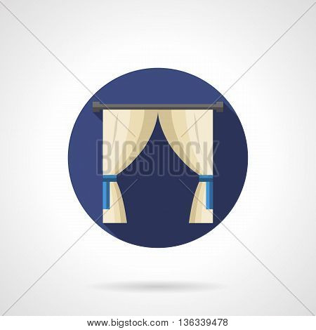 Classic or vintage window decor with white curtains with blue tiebacks. Stylish luxury interior for hotel, home, public entertainment places. Round flat color style vector icon.