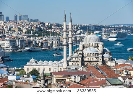New Mosque in the Eminonu district in the city of Istanbul Turkey