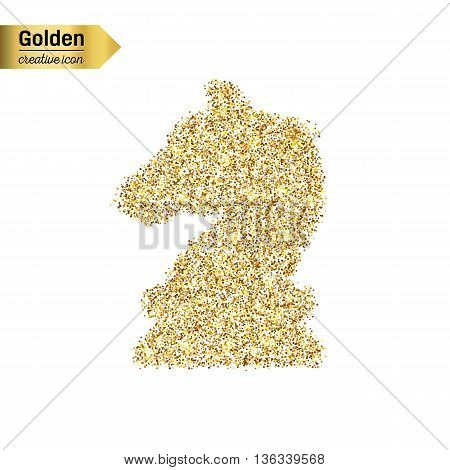 Gold glitter vector icon of chess knight scales isolated on background. Art creative concept illustration for web, glow light confetti, bright sequins, sparkle tinsel, bling logo, shimmer dust, foil.