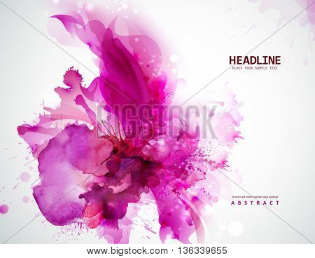 Energetic pink abstract banner. Magenta stain formed by artistic blots.