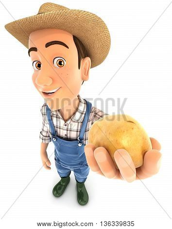 3d farmer holding a potato illustration with isolated white background