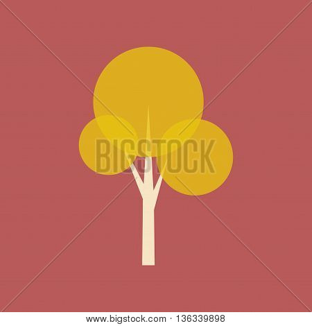 Flat with shadow icon and mobile application tree