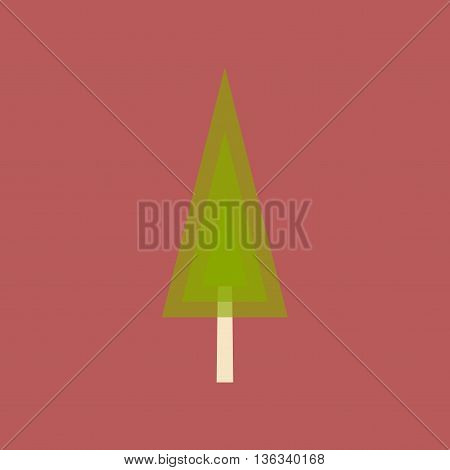 Flat with shadow icon and mobile application coniferous