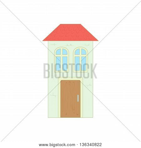 White house with a red roof icon in cartoon style on a white background