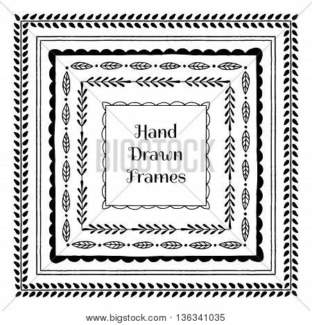 Collection of hand drawn square frames. Vector illustration.