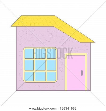 Cottage with yellow roof and big window icon in cartoon style on a white background
