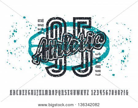 Narrow serif font and numbers with contour. Typeface with shabby texture. Graphic design for t-shirt. Print on white background