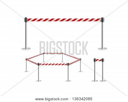 Mobile fence barrier red white belt stand isolated 3d illustration. Fencing barricade on metal chrome pole posts. Portable caution danger line with ribbon stretch tape. Precaution fence tape band.
