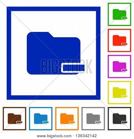 Set of color square framed Remove folder flat icons