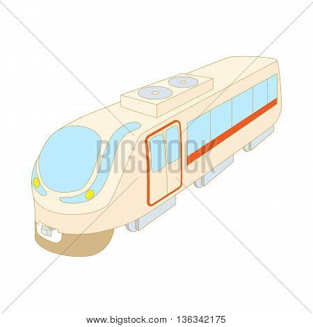 Modern high speed train icon in cartoon style on a white background