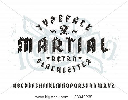 Sanserif font in black letter style and volume effect. Typeface with spray texture. Gothic typeface on light background