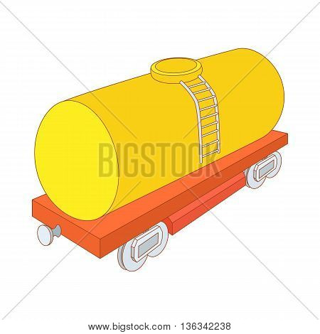 Yellow railroad tank icon in cartoon style on a white background