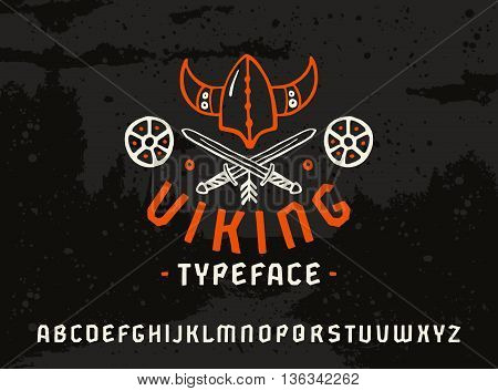 Sanserif font in historical style. Viking typeface. Color print on dark texture background