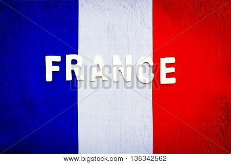 French flag, abstract grunge style with text space, patriotic wallpaper, background for football fans