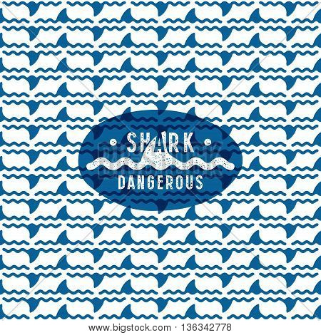 Shark Fin Among The Waves Seamless Pattern And Dangerous Emblem